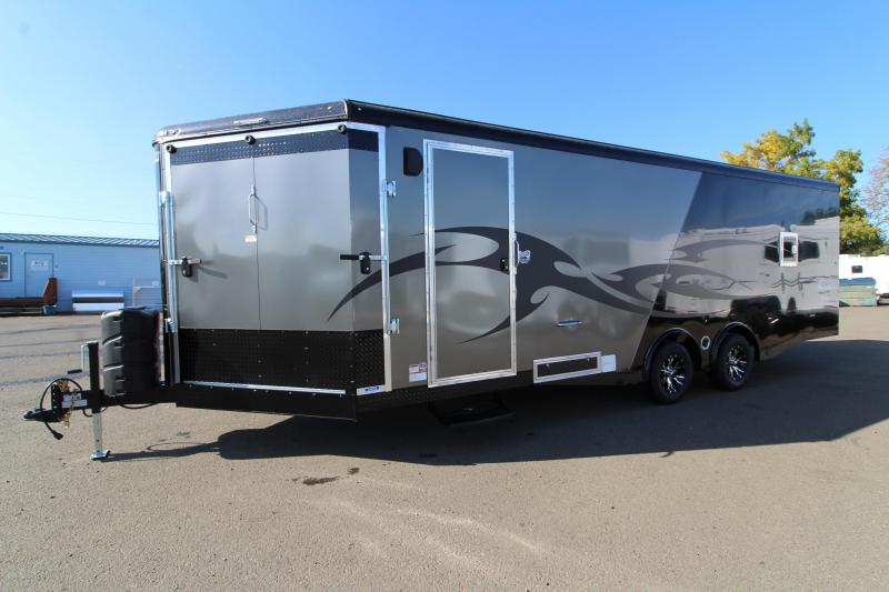 2020 Mirage Xtreme Sport 8.5x28 Snowmobile Trailer - High mark Package - Black out package - Front ramp and rear