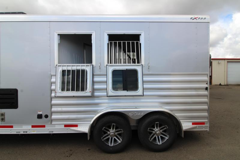 2020 Exiss 7210 - 10' SW All Aluminum 2 Horse Trailer - Easy Care Flooring  - Lined and Insulated Horse Area Ceiling - Stud Wall