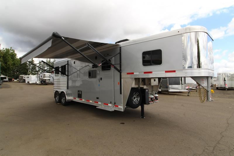 2020 Exiss 7210 - 10' Short Wall All Aluminum 2 Horse Trailer - Easy Care Flooring  - Lined and Insulated Horse Area Ceiling - Stud Wall
