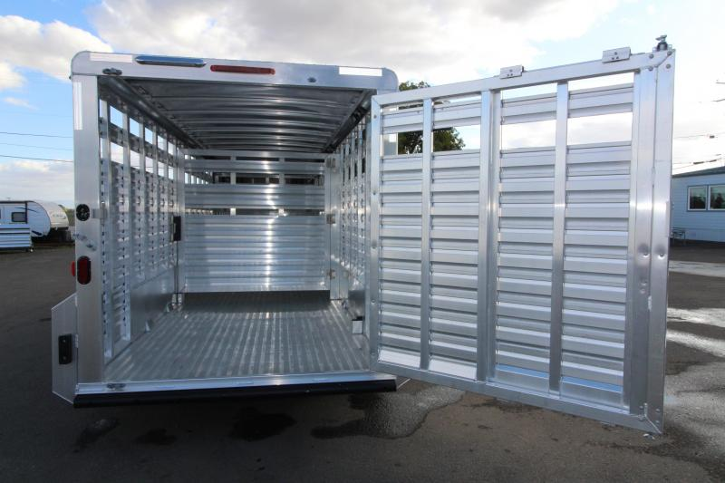 """NEW 2019 Exiss 7022 All Aluminum 22' Livestock Trailer - with Escape Door on Curbside - EXTRA TALL 7'2"""" Tall - Solid Center Gate - Rear Gate with Slider PRICE REDUCED $1500"""