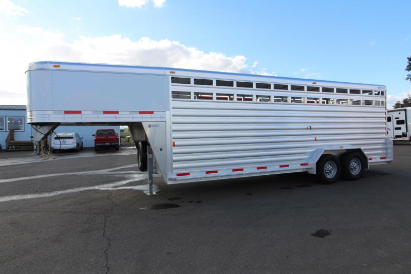 "NEW 2019 Exiss 7022 All Aluminum 22' Livestock Trailer - Escape Door on Curbside - EXTRA TALL 7'2"" Tall - Solid Center Gate - Rear Gate with Slider PRICE REDUCED $1500"