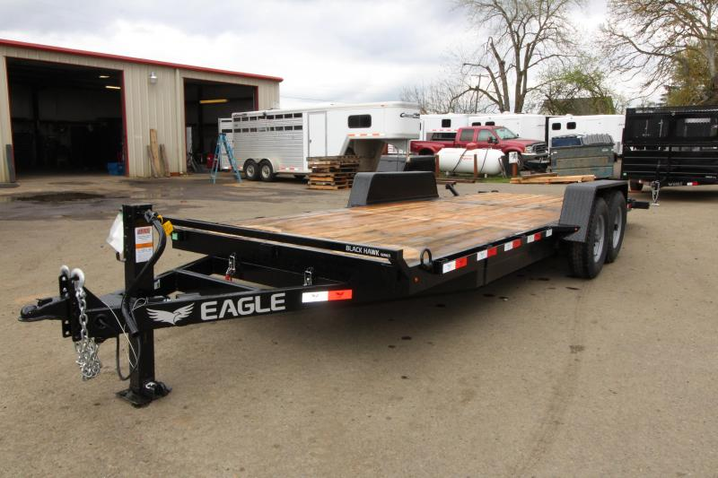 "NEW 2019 Eagle  BLACK HAWK SERIES 7x20 Tandem Axle 14k Tiltdeck Flatbed Trailer - Brakes on both axles -  30"" Steel rear Approach - Cushioning hydraulic cylinder - New over center latch with release - 2x6 Fir decking"