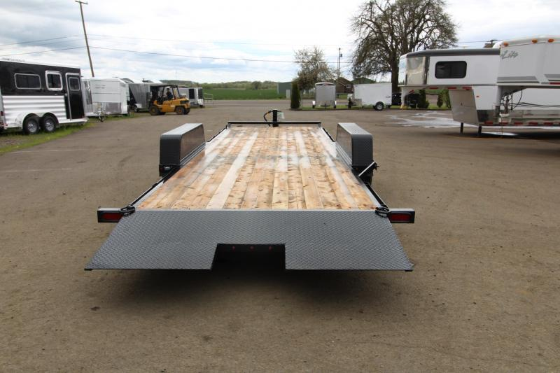 """NEW 2019 Eagle BLACK HAWK SERIES 7' x 20' Tandem Axle 14k Tiltdeck Flatbed Trailer - Brakes on both Axles -  30"""" Steel Rear Approach - Cushioning Hydraulic Cylinder - New Over Center Latch with Release - 2"""" x 6"""" Fir Decking"""