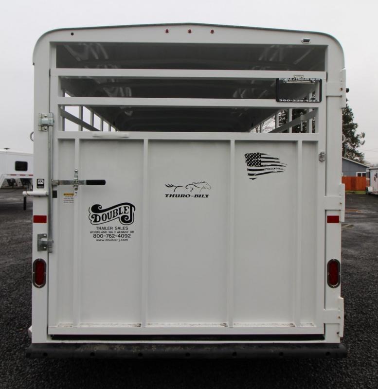 2020 Thuro-Bilt Wrangler 17ft Livestock Trailer w/ Center Gate & Side Door
