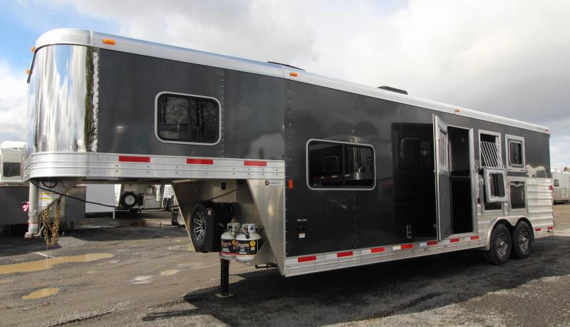 NEW 2019 Exiss Endeavor 8310 - 10' Short Wall Living Quarters 3 Horse Trailer - Upgraded Interior - Lined and Insulated Horse Compartment Ceiling - Tail Side Drop Windows - Sofa - Easy Care Flooring PRICE REDUCED $3450
