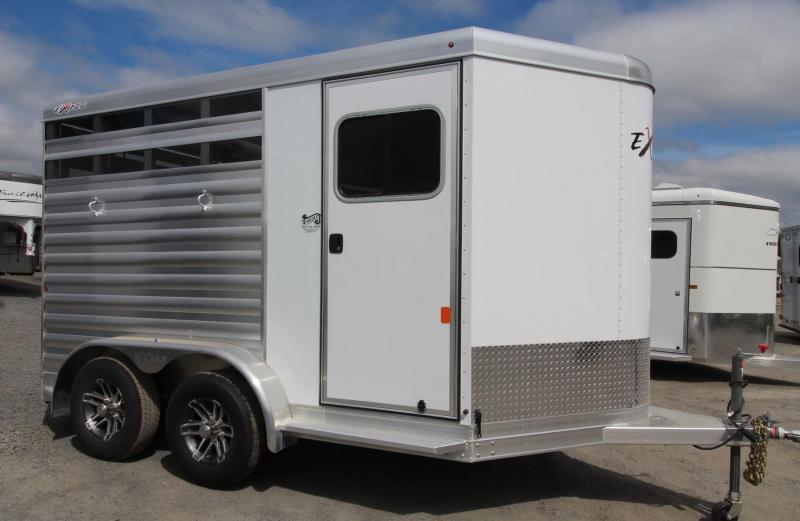 2020 Exiss Express CX 2 Horse Aluminum Trailer - Polylast Floor - Plexi Glass Inserts - 2 Tier saddle rack