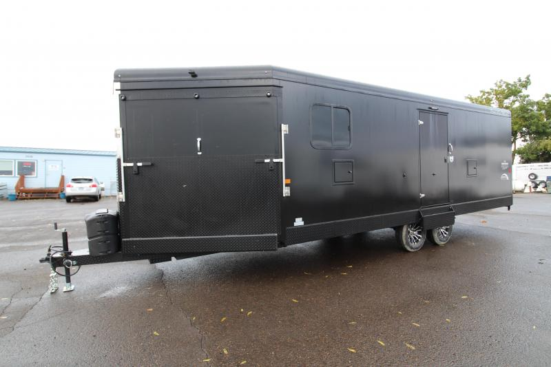 2020 Trails West RPM 28' Snowmobile Trailer - Black Exterior - Power Ramp - Insulated Walls and Roof - PVC Laminate Flooring