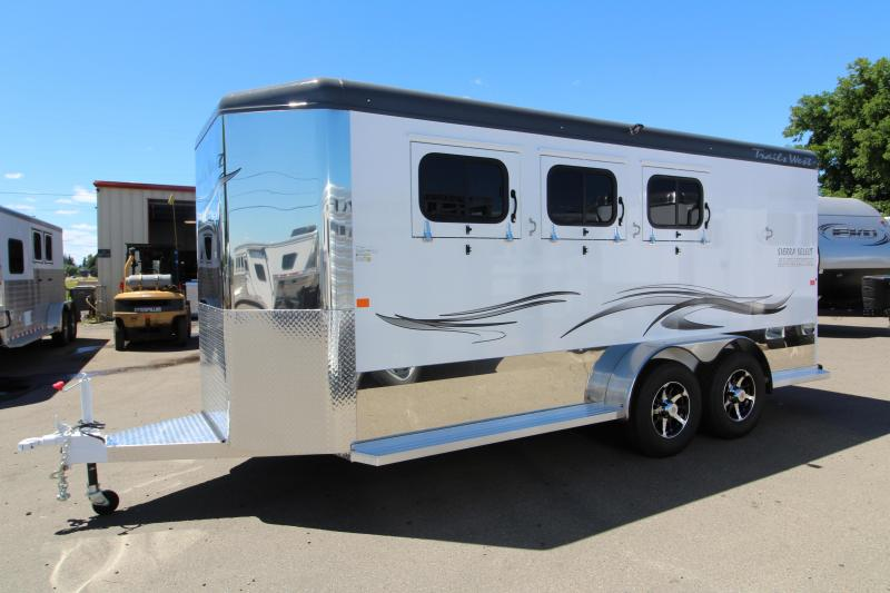 NEW 2019 Trails West Sierra Select 3 Horse Bumper Pull Trailer - Vacuum Bonded Aluminum Construction - UPGRADED Folding Rear Tack w/ Swing Out Saddle Rack