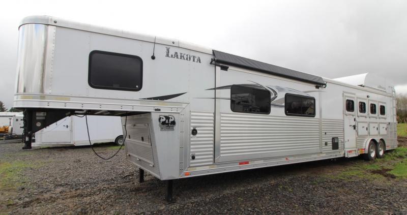 2014 Lakota Bighorn 18ft sw Living Quarters w/ TWO slide outs AMAZING INTERIOR - Generator - 4 Horse Trailer - Hayrack & More