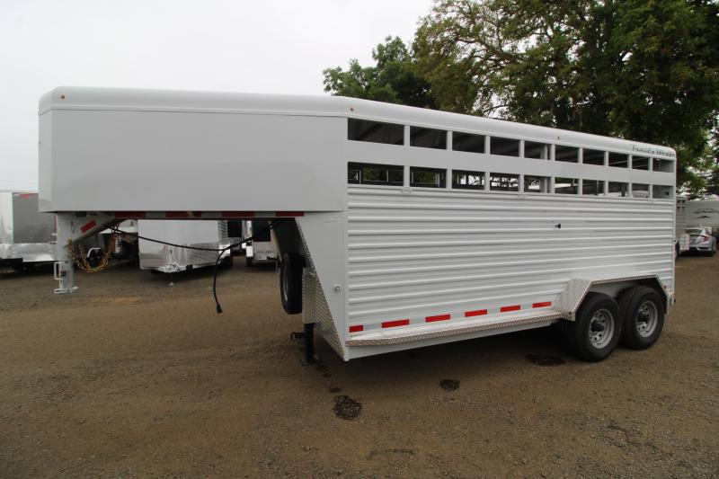 2020 Trails West Hotshot 16' Gooseneck Livestock Trailer - Sort Door in Center Gate - Rear Gate with Slider - LED Load Lights