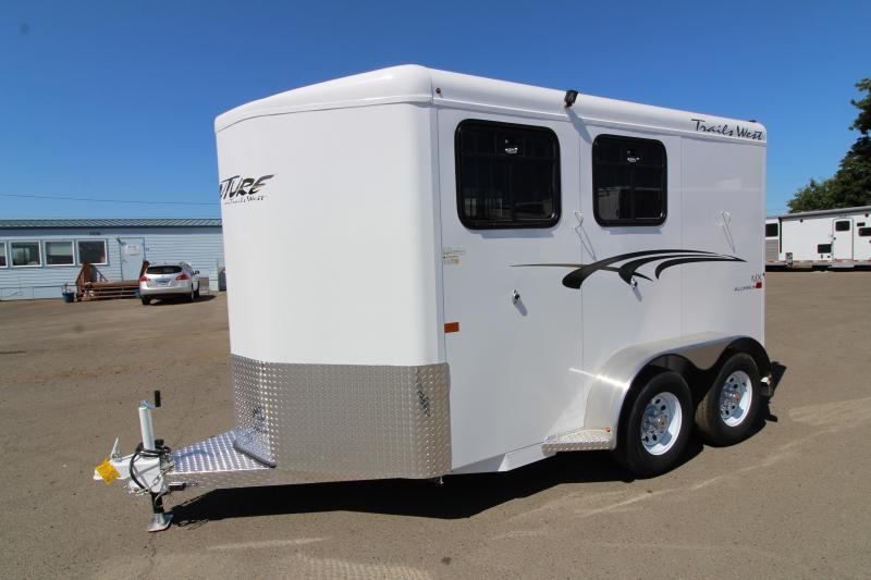 "2020 Trails West Adventure 2 Horse Trailer - Drop Down Feed Windows - 14"" Roof Vent  - Rubber Mats in Tack Area - Convenience Package"