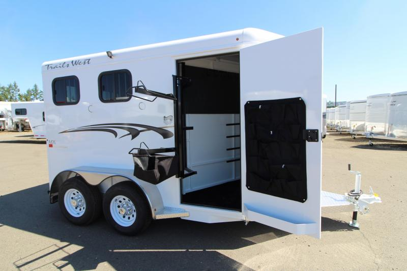 """2020 Trails West Adventure 2 Horse Trailer - Drop Down Feed Windows - 14"""" Roof Vent  - Rubber Mats in Tack Area - Convenience Package"""