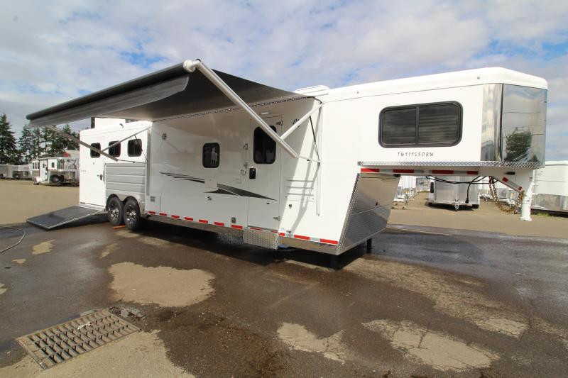 2020 Trails West Sierra 11' x 15' SW L.Q. with Slide-out - Side Load 3 Horse Trailer - Hay Rack - Gas Generator Ready - Mangers - Easy Care Flooring - Stud Wall and MORE!