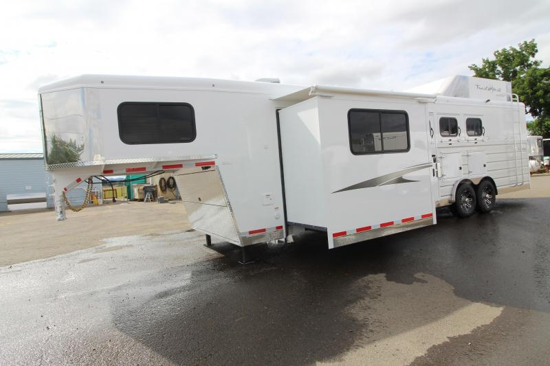 2020 Trails West Sierra 11' x 15' Short Wall Living Quarters with Slide-out - Side Load 3 Horse Trailer - Hay Rack - Gas Generator Ready - Mangers - Easy Care Flooring - Stud Wall and MORE!