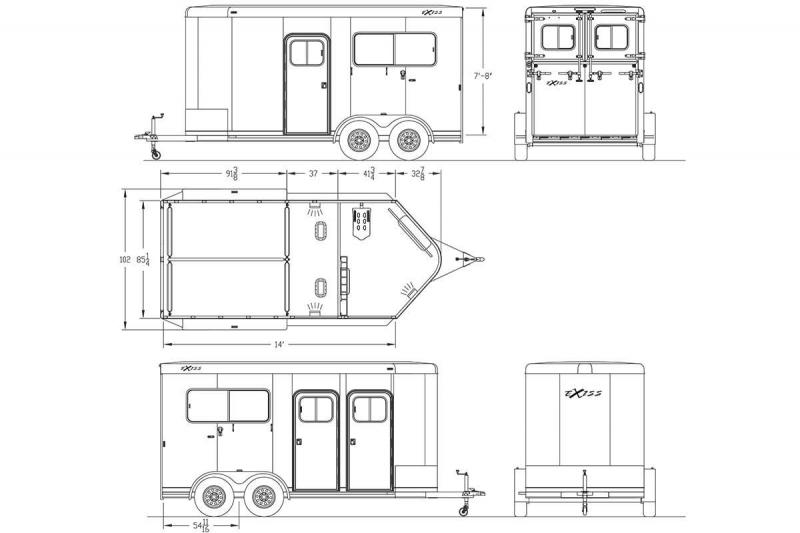 NEW 2019 Exiss Trailers 724 Straight Load 2 Horse Trailer - All Aluminum Large Dressing Room - Rear Ramp - Two Escape Doors