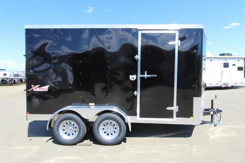 NEW 2019 Mirage 7' x 12' Xpres Enclosed Cargo Trailer - Xtra Package - Black Exterior - Curbside Man Door - Rear Ramp Door - V-Nose - Flat Roof