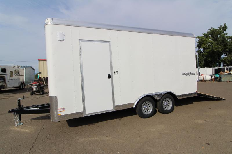 2020 Mirage Xcel 8.5x16 Enclosed Cargo Trailer- Side by side package -  Crystal white exterior - Interior spare tire mount - Spare tire - Radius front - Round roof