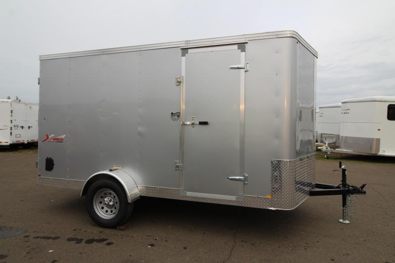 2020 Mirage Xpres 7' x 12' Enclosed Cargo Trailer - Xtra Package - Curbside Mandoor - Flat Roof - V Nose