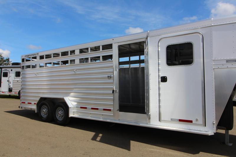 """NEW 2019 Featherlite 8413 - All Aluminum Stock Combo Trailer - Enclosed Tack Room - 7'6"""" Wide 24' Floor Length"""