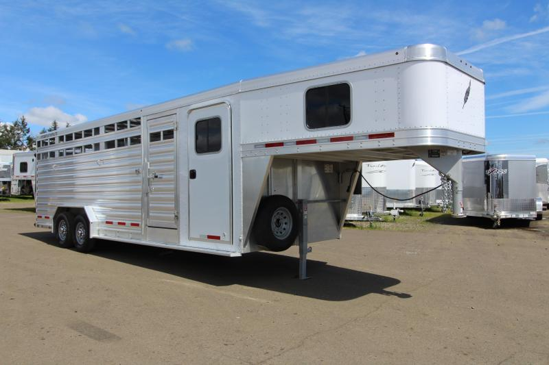 "NEW 2019 Featherlite 8413 - All Aluminum Stock Combo Trailer - Enclosed Tack Room - 7'6"" Wide 24' Floor Length"