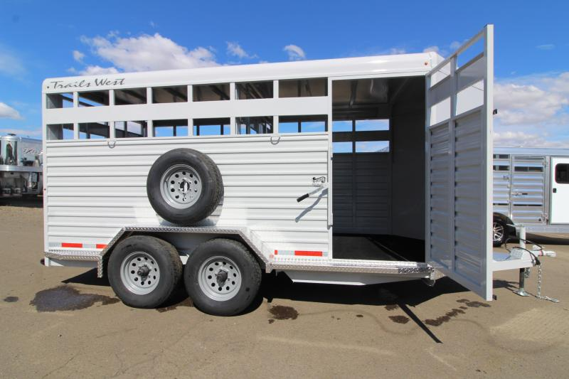2020 Trails West Hotshot 17' Livestock Bumper Pull Trailer - Flood Light - Gray Color - Sort Door in Center Gate - Rear Slider Gate