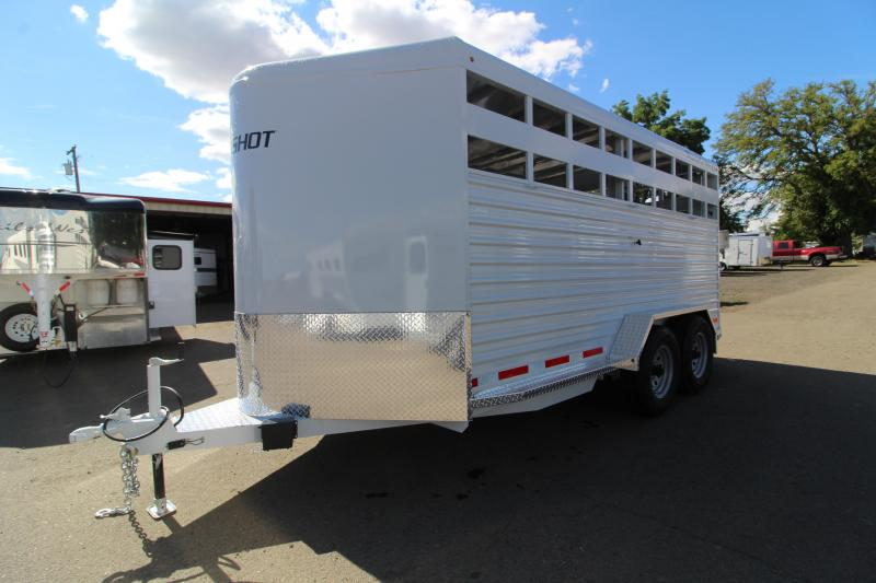 2020 Trails West Hotshot 17 ft Livestock Bumper Pull Trailer - Flood Light - Gray Color - Sort Door in Center Gate - Rear Slider Gate