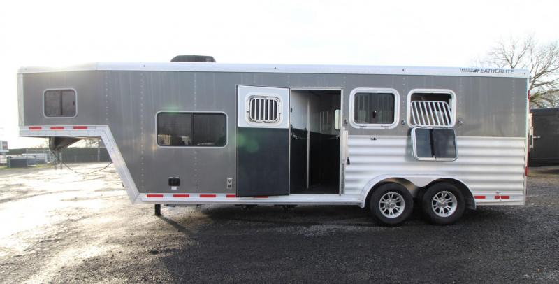 2020 Featherlite 7841 Liberty SE 8' Short Wall 7' Wide Living Quarters w/ Dinette 3 Horse Trailer