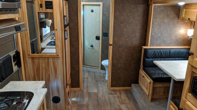 2020 Exiss 8310 3  Horse 10' SW Living Quarters Trailer - Slide Out - Upgraded Interior - Lined and Insulated Horse Area - Stud Wall - Easy Care Flooring - Mangers