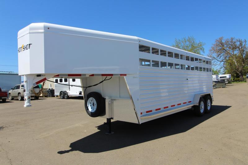 2020 Trails West Hotshot 20' Steel Livestock Trailer - One Piece Aluminum Roof - Sort Door in Center Gate and Slider in Rear Gate