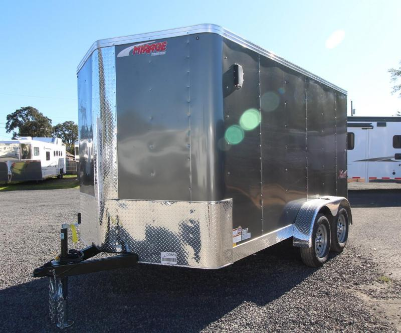 2020 Mirage Xpres 7X12 TA Cargo Trailer - Xtra package - Rear ramp door - Mandoor - Side airflow vents - Grey exterior skin