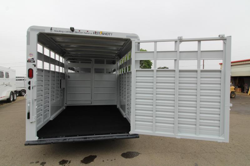 2020 Trails West 24ft Hotshot Livestock Trailer - Extra Cross Gate - Flood Light - Gray Paint Scheme- Sort Gate in Center Gate