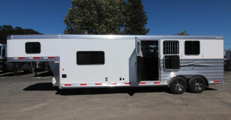 2020 Exiss 7311 CXF 11' Living Quarters 3 Horse Trailer w/ Side Tack - All Aluminum - Easy Care Flooring - Electric Awning - A/C