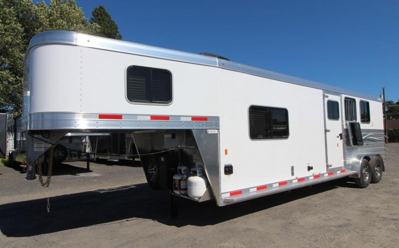 2020 Exiss 7311 CXF 11' Living Quarters 3 Horse Trailer w/ Side Tack - All Aluminum - Easy Care Flooring - Electric Awning - A/C