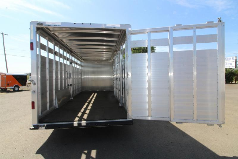 NEW 2019 Featherlite 8413 Stock Combo 24ft All Aluminum Trailer - Tack Room w/ 4 Place Saddle Rack - Solid Center Gate