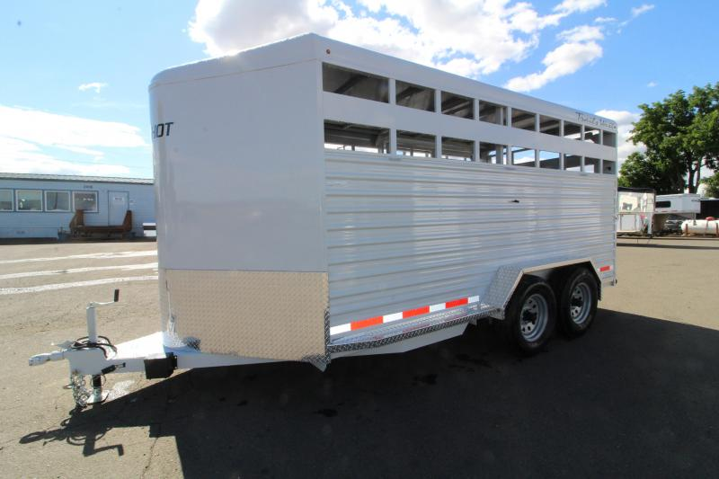 2020 Trails West 17ft Hotshot Livestock Trailer - Center Gate with Sort Door - LED Load Lights - Spare Tire - 7' Tall and Wide