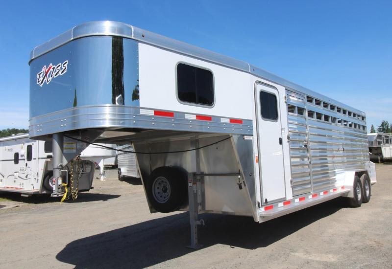 2020 Exiss Trailers STC 7024 Livestock Trailer - All Aluminum - Adjustable 4 Tier Saddle Rack - 4' Tack Room - Full Swing Rear Door with Slider