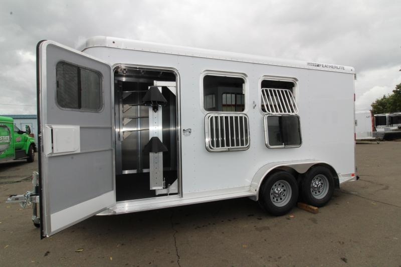 """2020 Featherlite 9551 - 2 Horse All Aluminum Trailer - 7'6"""" Tall - Swing Out Saddle Rack - Drop Down Windows - Spare Tire"""