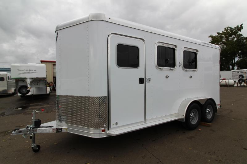 "2020 Featherlite 9551 - 2 Horse All Aluminum Trailer - 7'6"" Tall - Swing Out Saddle Rack - Drop Down Windows - Spare Tire"