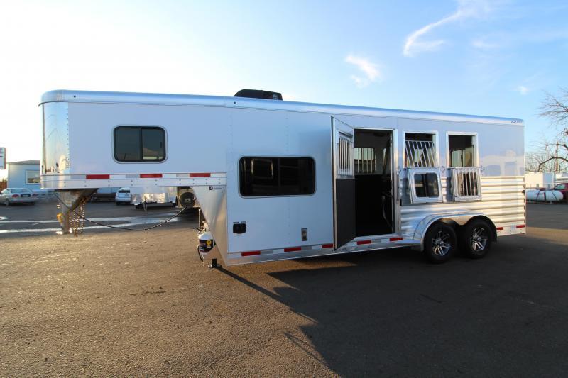 2020 Exiss Escape 7306 LQ Horse Trailer -  All Aluminum Construction -  Drop Down Feed Doors- Roof Vents