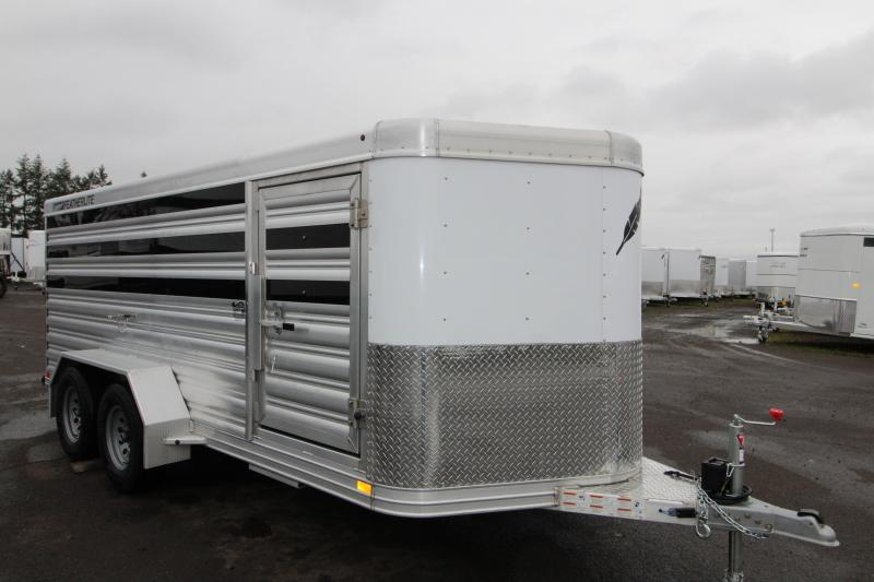 NEW 2019 Featherlite 8107 All Aluminum Livestock Trailer 16' Low Profile - Center Gate on Track Sliders for Adjustable Pen Sizes