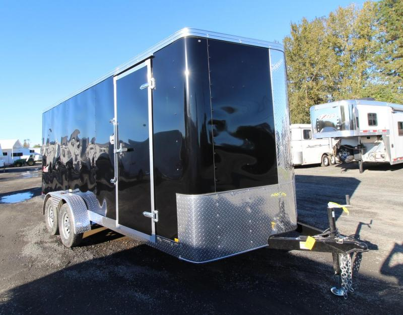 2020 Mirage Xpres 7x16 TA - Xtra Package Enclosed Cargo Trailer - Curbside barlock mandoor - UPGRADED rear ramp door - V nose - Flat roof