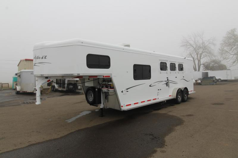 2020 Trails West Classic 3 Horse 8' x 13' Living Quarters Trailer - Easy Care Floor - Power Awning Upgrade  -  Stud Divider - Escape Door - Folding Back Tack - Preliminary Photos