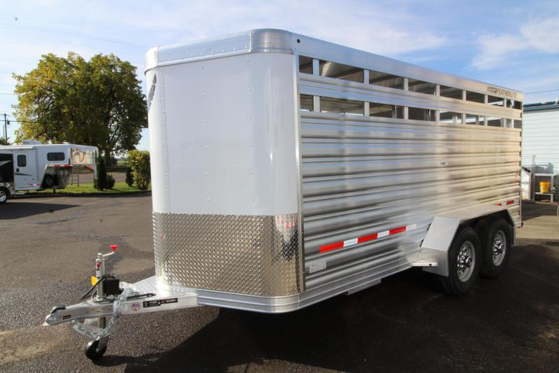 2020 Featherlite 8107 - 16' Livestock Trailer - All Aluminum Construction - Sliding Rear Gate and Slider in Sort Gate