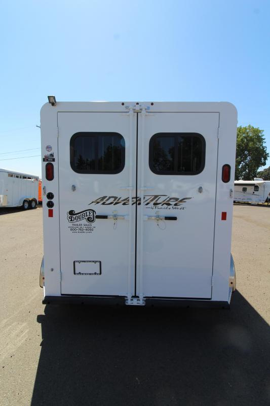 """2020 Trails West Adventure 2 Horse Trailer -  14"""" Roof Vent - Drop Down Feed Windows - Rubber Floor Mats in Tack Area - 1 Piece Aluminum Roof"""