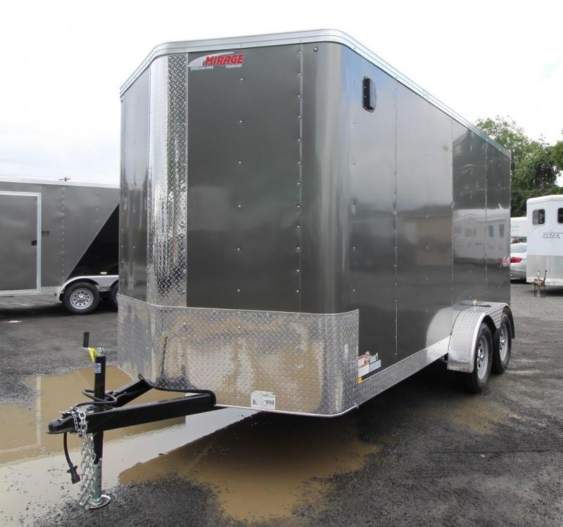 2020 Mirage Xpres 7x14 TA Enclosed Cargo Trailer- Xtra package -  V Nose - Flat roof - Grey Exterior - Rear ramp door - LED lights