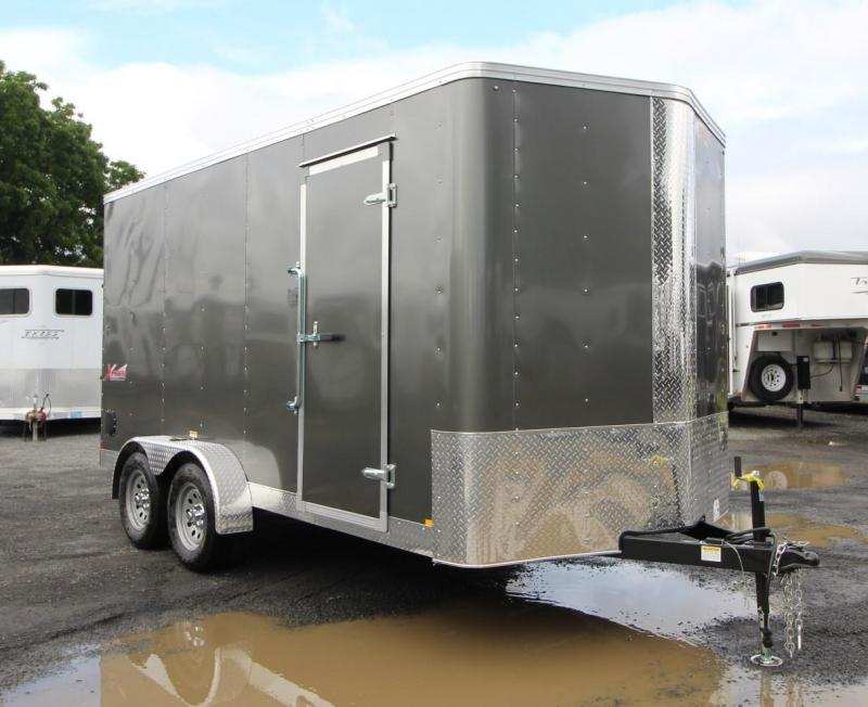 2020 Mirage Xpres 7' x 14' Tandem Axle Enclosed Cargo Trailer- Xtra Package -  V Nose - Flat Roof - Grey Exterior - Rear Ramp Door - LED Lights
