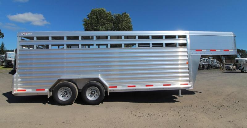 2020 Exiss STK 7020 - 20ft Aluminum Livestock Trailer - All Aluminum Construction - Spare Tire -  Heavy Duty Slam Latch