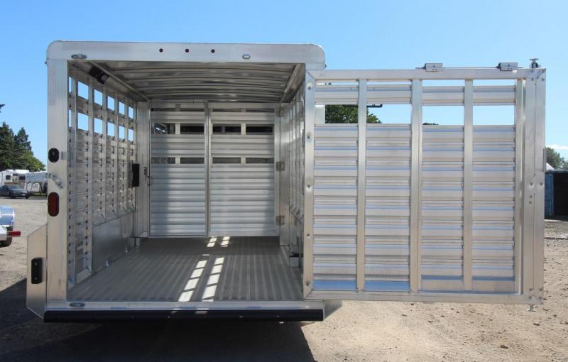 2020 Exiss STK 7020 - 20ft Aluminum Livestock Trailer - All Aluminum Construction - Spare Tire -  Heavy Duty Slam Latch