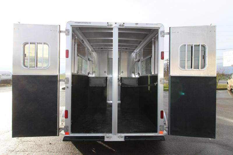 "NEW  2019 Featherlite 9407 - 2 Horse Straight Load Trailer - 7'6"" Tall - Mangers - Black Exterior - All Aluminum Trailer - Extruded Siding - REDUCED PRICE BY $1000"