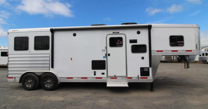 2019 Exiss Trailers 8210 - 10ft sw Living Quarters w/ Slide Out 2 Horse Trailer - All aluminum - Swing Out Saddle Rack - Easy care flooring - Lined and Insulated Horse Area Ceiling - Upgraded Interior  PRICE REDUCED $3,000